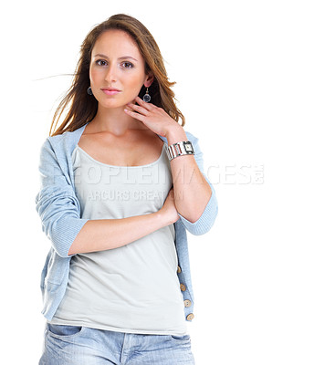 Buy stock photo Portrait of a trendy young woman posing against white background