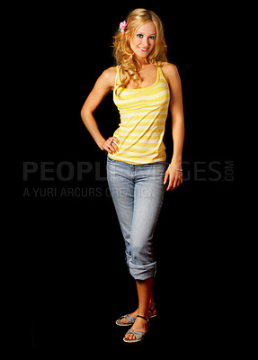 Buy stock photo Cute contemporary woman dressed for summer