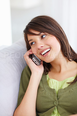 Buy stock photo Lovely woman speaking on the mobile phone