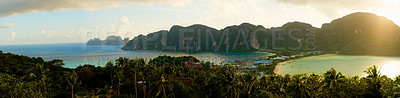 Buy stock photo Panoramic shot of an exotic island landscape