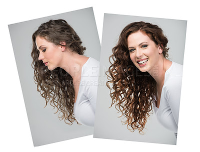Buy stock photo Composite shot of a beautiful young woman against a gray background
