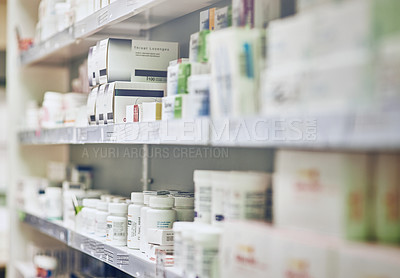 Buy stock photo Cropped shot of shelves in a pharmacy