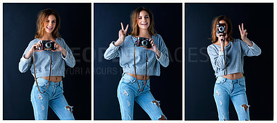 Buy stock photo Multiple image shot of a cute teenage girl with a vintage camera posing against a dark background