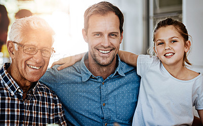 Buy stock photo Portrait of a multi generational family bonding together at home