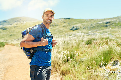 Buy stock photo Portrait of a young man out on a hike
