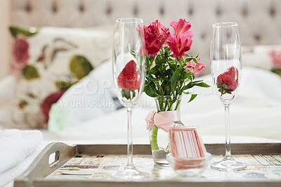 Buy stock photo Shot of a honeymoon suite ready for a newly married couple