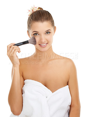 Buy stock photo Portrait of an attractive young woman holding some make-up
