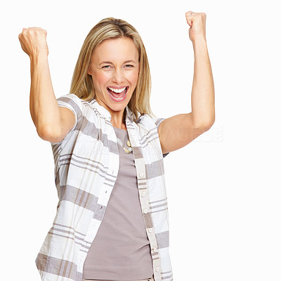 Buy stock photo Portrait of excited female executive with clenched fists isolated on white background
