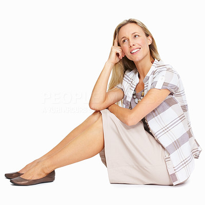 Buy stock photo Full length of thoughtful business woman sitting over white background