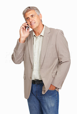 Buy stock photo Studio shot of a mature man using a mobile phone against a white background