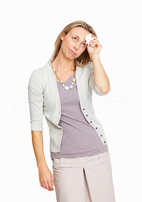 Buy stock photo Tensed mature business woman suffering headache over white background