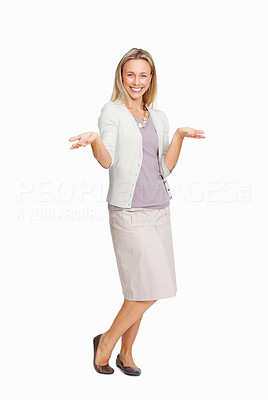 Buy stock photo Full length of beautiful business woman presenting with hands gestures on white background