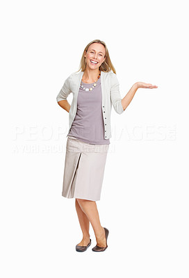 Buy stock photo Full length of business woman outstretching her hand for presenting something