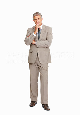 Buy stock photo Studio shot of a confident mature businessman against a white background
