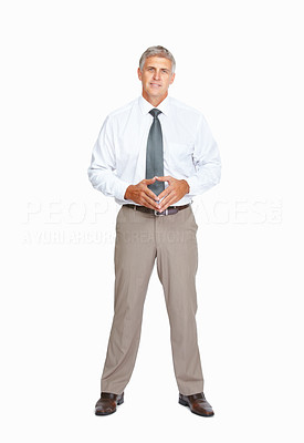 Buy stock photo Studio shot of a successful mature businessman against a white background