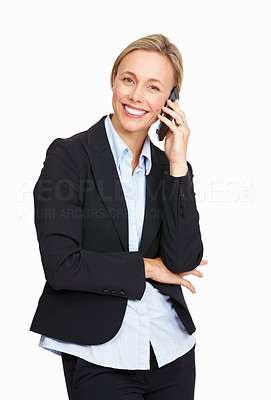 Buy stock photo Portrait of business woman talking on the phone over white background
