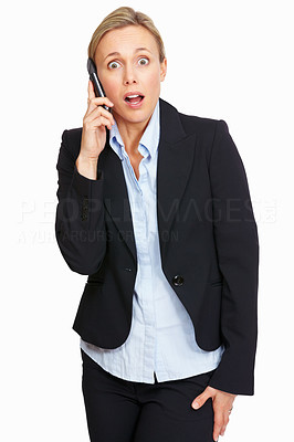 Buy stock photo Portrait of shocked business woman talking on phone call over white background