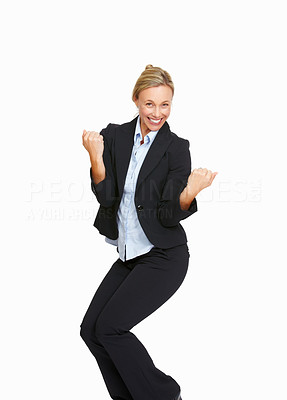 Buy stock photo Portrait of excited business woman with her clenched fist on white background