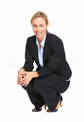 Buy stock photo Full length of business woman crouching over white background
