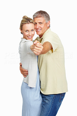 Buy stock photo Attractive mature couple having dance over white background