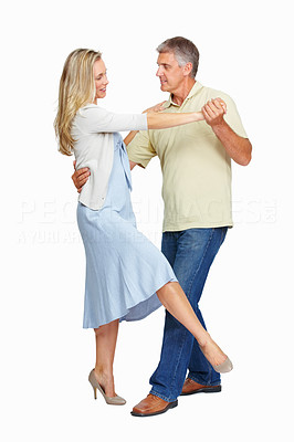 Buy stock photo Full length of mature couple in love dancing together on white background