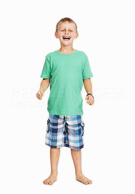 Buy stock photo Full length of playful young boy laughing over white background