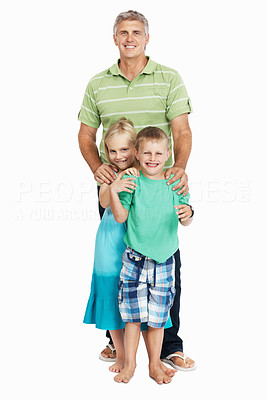 Buy stock photo Mature man standing with his playful children on white background