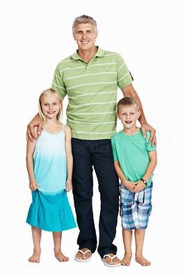 Buy stock photo Smiling mature man standing with his children over white background