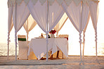 Dining table for honeymoon couples at tropical beach