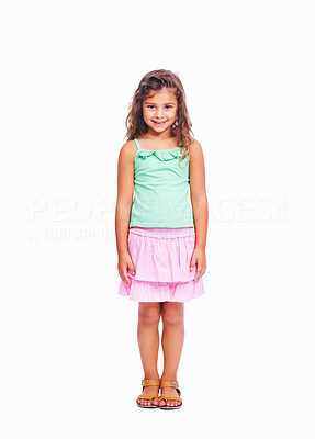 Buy stock photo Full length of cute little girl standing isolated on white background