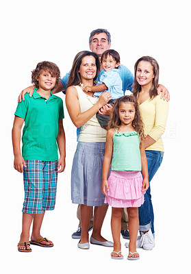 Buy stock photo Family portrait - Family standing together on white background
