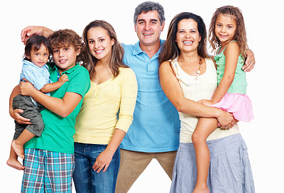 Buy stock photo Portrait of cheerful mature parents with children isolated on white background