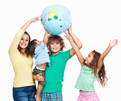Buy stock photo Young children playing with big globe ball over white background