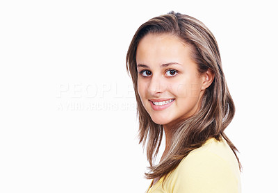Buy stock photo Closeup portrait of a teenage girl isolated over white background