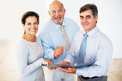 Buy stock photo Portrait of happy of successful business people discussing project