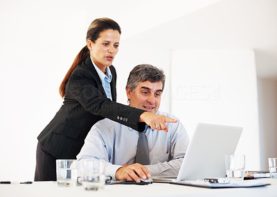 Buy stock photo Portrait of happy mature female executive pointing at laptop screen to colleague