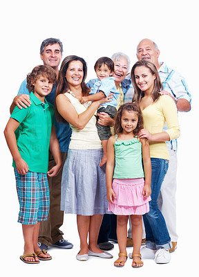 Buy stock photo Portrait of a senior parents with children and grand children on white background
