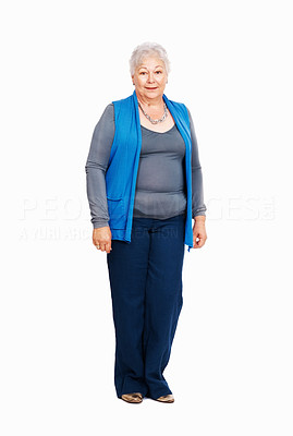 Buy stock photo Full length of beautiful senior business woman standing on white background