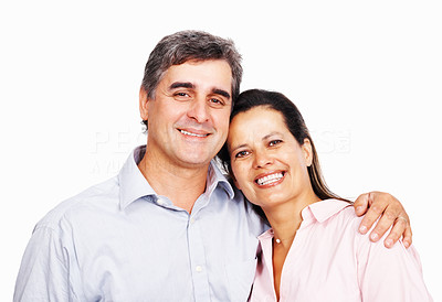 Buy stock photo Closeup of loving business couple embracing on white background