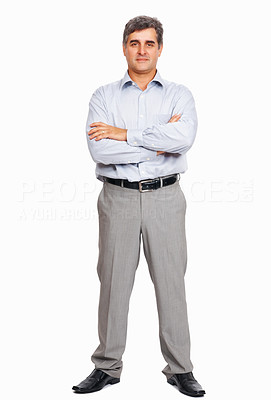 Buy stock photo Full length of confident business man with hands folded on white background