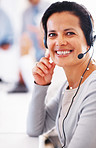 Smiling call center representative