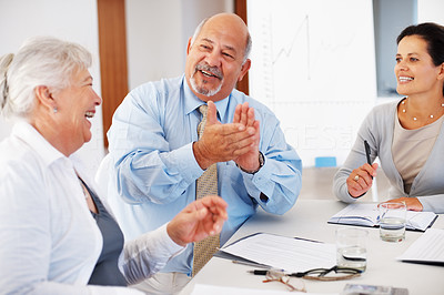 Buy stock photo Senior business man applauding for good presentation during meeting