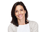 Happy middle aged woman smiling on white