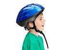 Happy little boy wearing a helmet