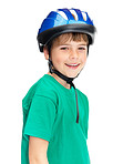 Adorable boy wearing a helmet looking happy