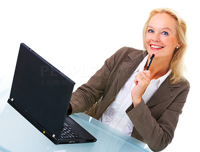 Buy stock photo Portrait of an attractive businesswoman sitting in front of a laptop isolated on white