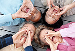 Top view of a senior people gesturing verbal call
