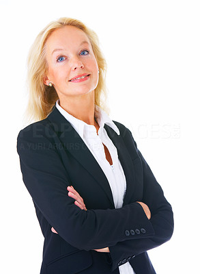 Buy stock photo Studio portrait of a mature businesswoman standing with her arms folded isolated on white