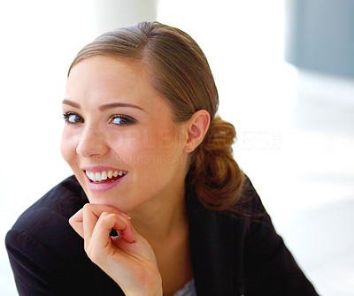 Buy stock photo Portrait of a smiling young businesswoman