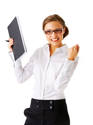 Buy stock photo Portrait of an attractive businesswoman with her arms raised in celebration.